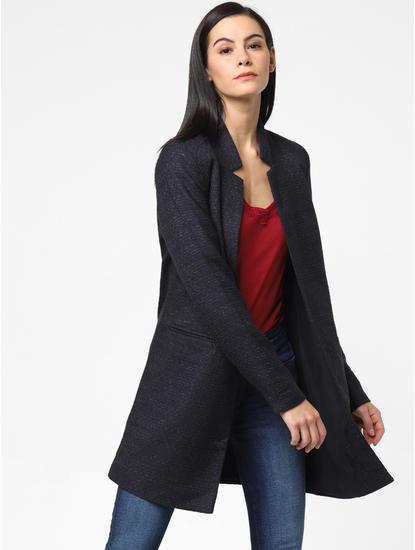 Navy Blue Shimmer Long Coat
