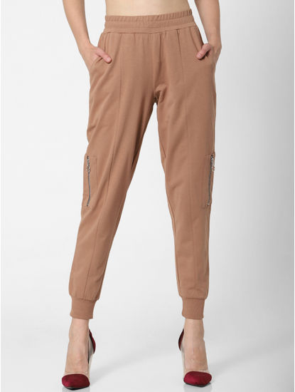 Brown Mid Rise Jogger Pants