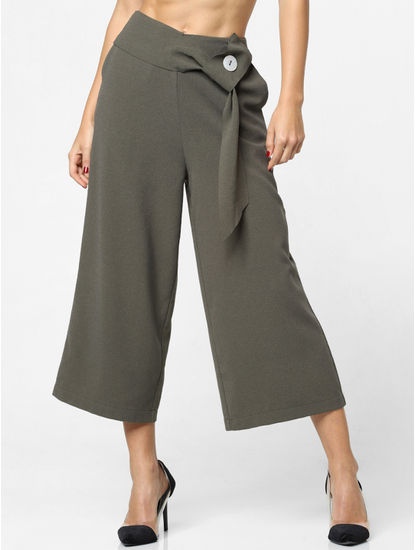 Green High Rise Belted Wide Leg Pants