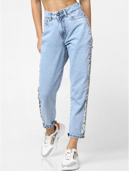 Light Blue Sequin Tape Detail Relaxed Fit Jeans
