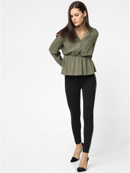 Green Cinched Waist Shirt