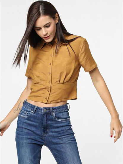 Brown Cropped Shirt
