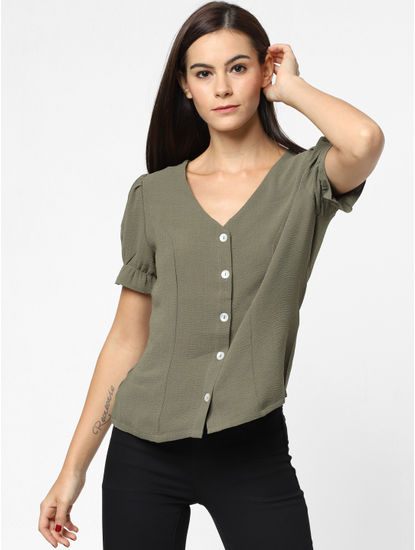 Green Button Down Top