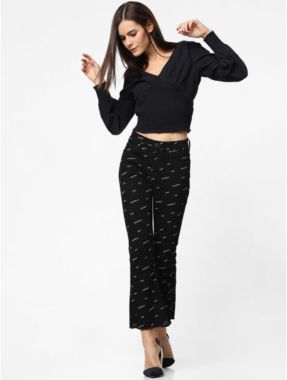 Black Smock Cropped Top