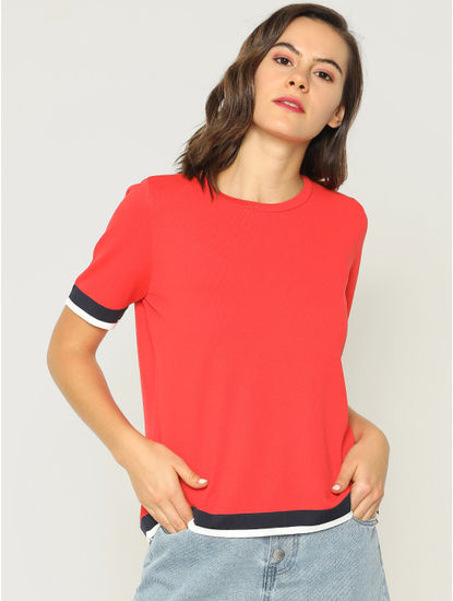 Red Contrast Tipping T-Shirt