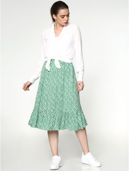 Green Mid Rise All Over Print Skirt