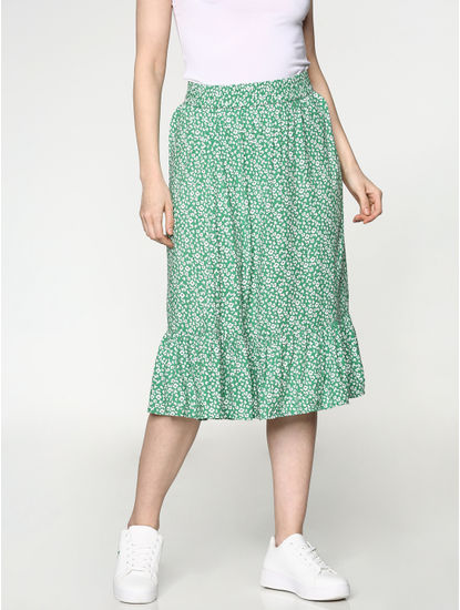 Green Mid Rise All Over Print Skirt