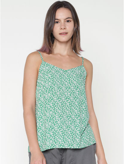 Green All Over Print Spaghetti Singlet