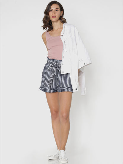 White Striped Paper Bag Waist Shorts