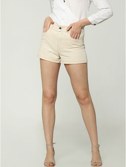 Cream Low Rise Shorts