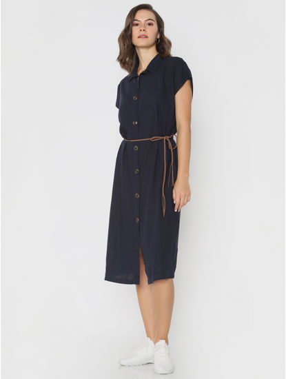 Navy Blue Midi Shirt Dress
