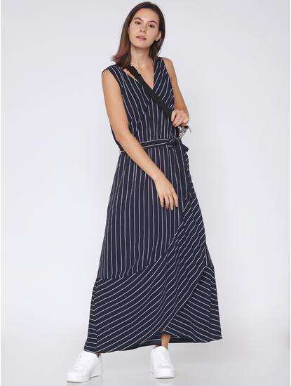 Navy Blue Striped Maxi Dress