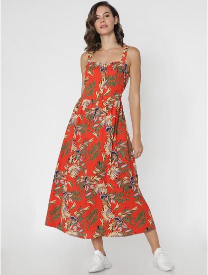Orange All Over Print Maxi Dress