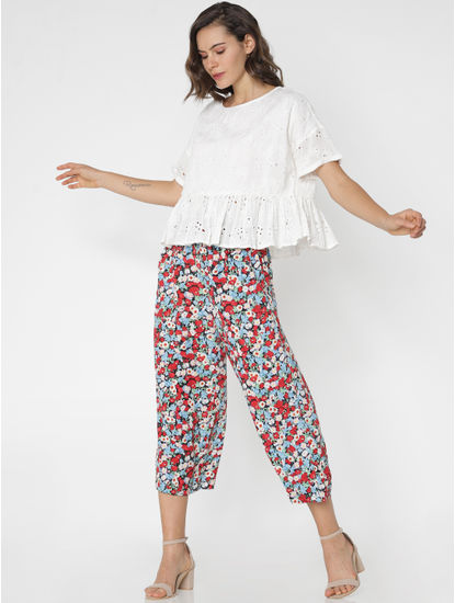 Black Mid Rise All Over Print Palazzo Pants