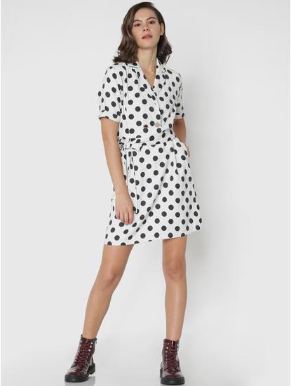 White Polka Dot Print Mini Shirt Dress