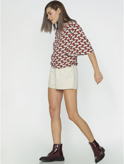 White Abstract Print Top