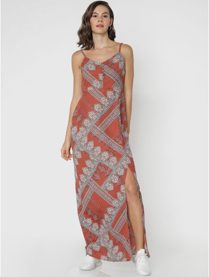 Brown All Over Print Maxi Dress