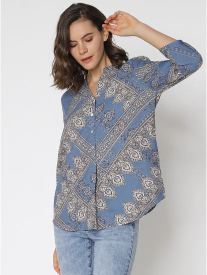 Blue All Over Print Shirt