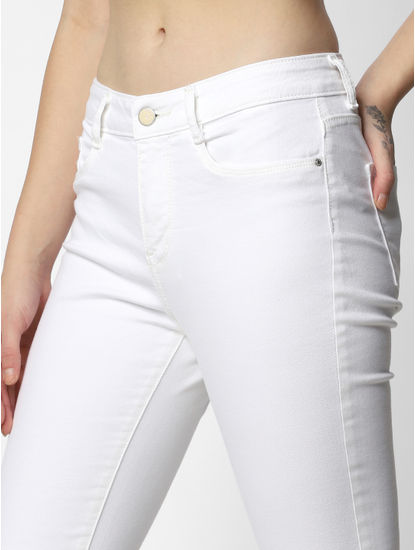 White Mid Rise Flared Jeans