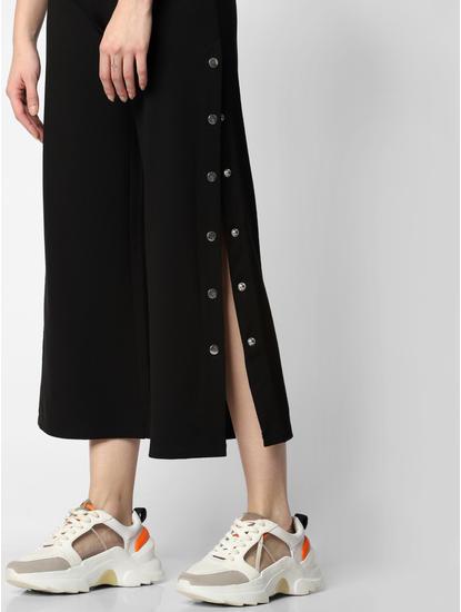 Black Mid Rise Side Slit Pants
