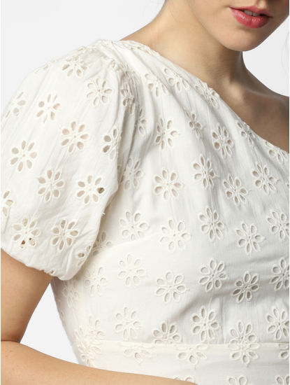 White Lace One-Shoulder Dress