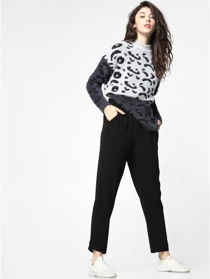 Black Mid Rise Drawstring Pants