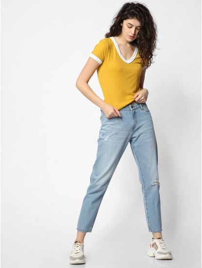 Mustard Ribbed T-shirt
