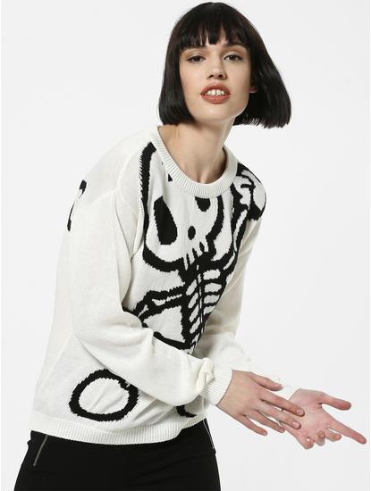 X Tokidoki White Skeleton Print Pullover