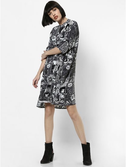X Tokidoki Black All Over Print Shirt Dress