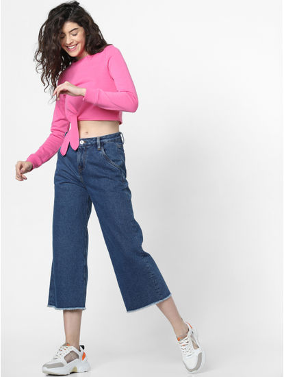 Pink Tie up Cropped Sweatshirt