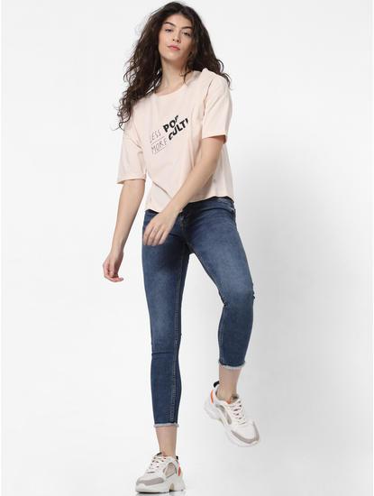 Light Pink Text Print T-shirt
