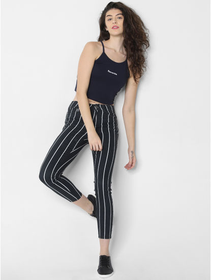 Navy Blue Text Print Cropped Singlet