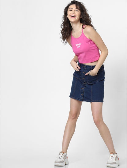 Pink Text Print Cropped Singlet