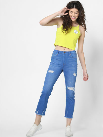 Yellow Text Print Cropped Singlet
