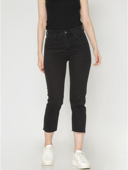 Black High Waist Raw Edge Slim Fit Jeans