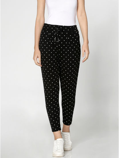 Black Mid Rise Polka Dot Print Pants