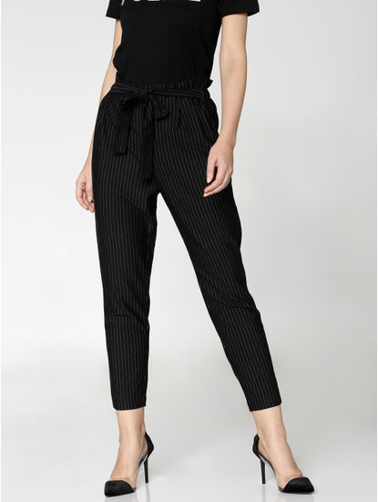 Black High Rise Paper Bag Waist Pants