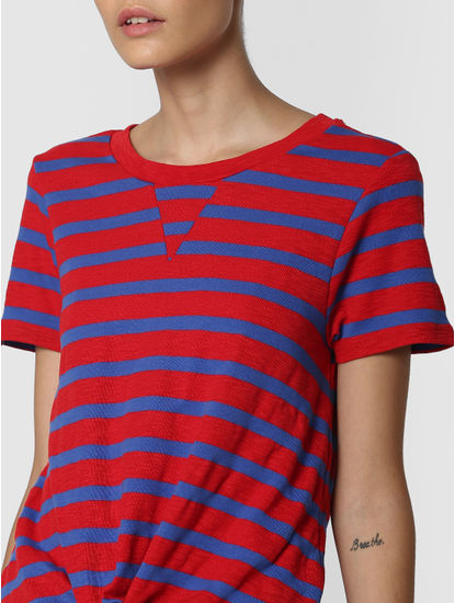 Red Striped Front Knot T-Shirt