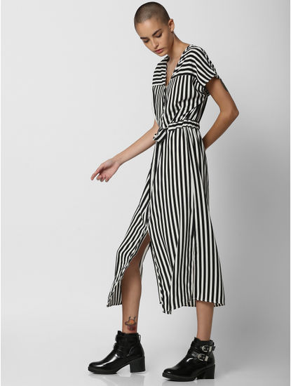 White Striped Midi Dress