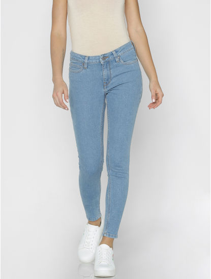 Light Blue Mid Rise Washed Skinny Fit Jeans