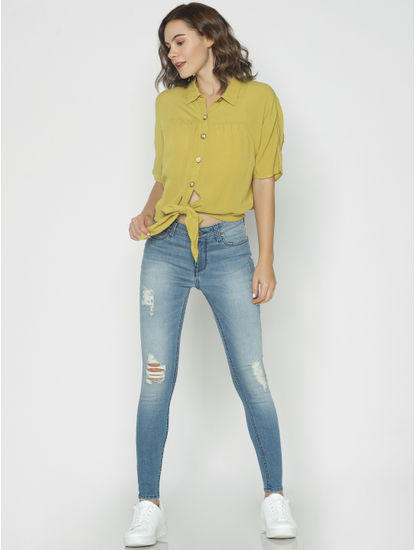 Golden Olive Front Knot Top