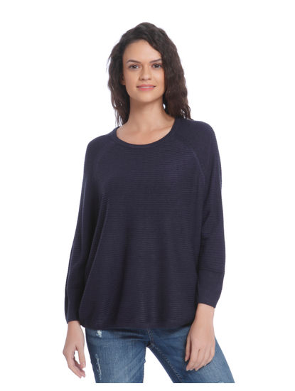 Dark Blue Ribbed Loose Fit Pullover