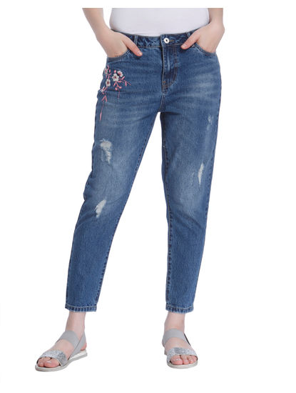 Blue Embroidered High Rise Boyfriend Jeans