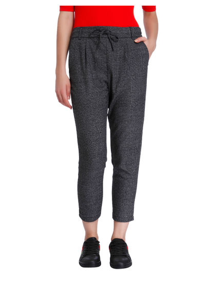 Grey Tartan Drawstring Pants