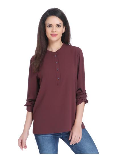Deep Burgundy Fold Up Sleeves Shirt