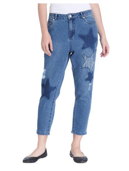 Blue Star Print Boyfriend Jeans