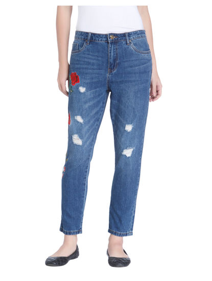 Blue Floral Print Boyfriend Jeans