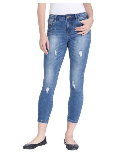 Blue Eyelet Detail Regular Waist Skinny Fit Jeans