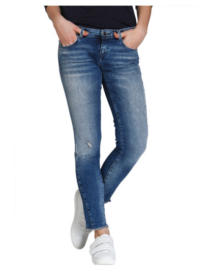Blue Frayed Hem Medium Rise Slim Fit Jeans