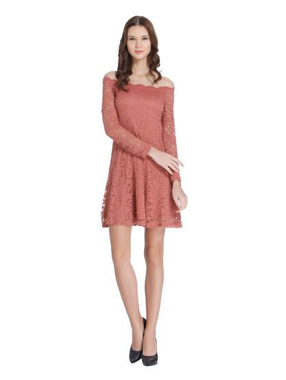 Dusty Rose Lace Off Shoulder Mini Dress
